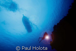 Diver descends. Cozumel. Canon XTi 10-22mm. by Paul Holota 